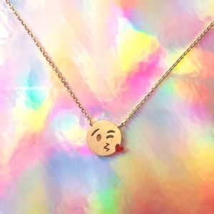 Jewelry - Real Gold Plated Emoji Necklace 😘💋